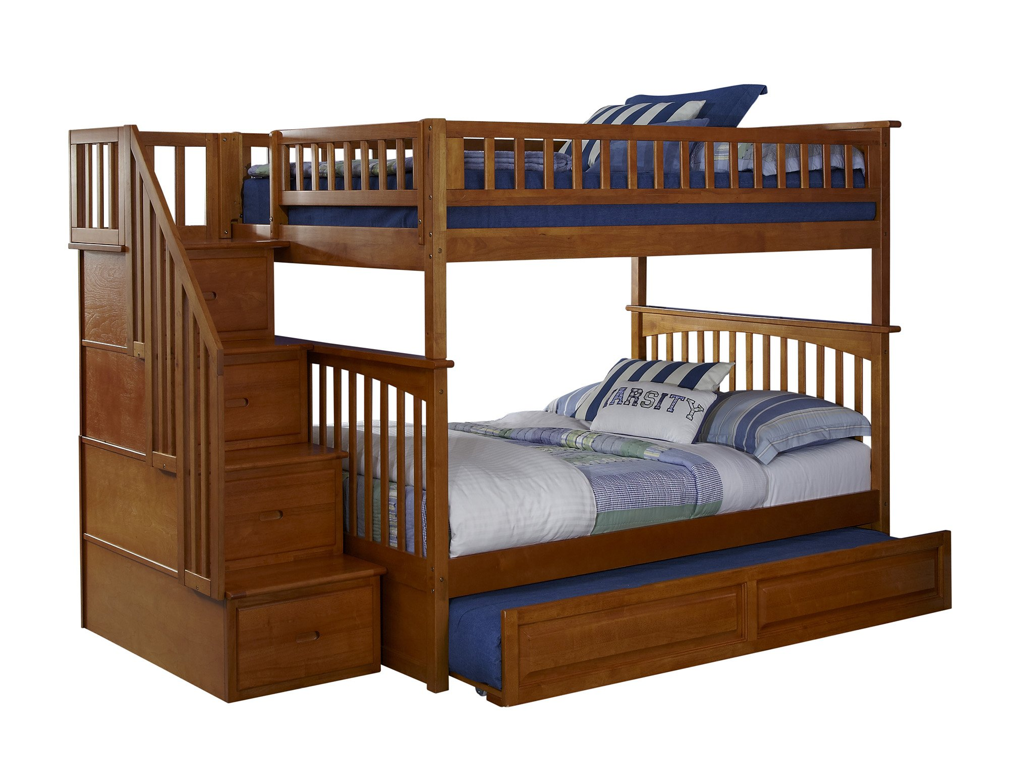 Columbia Staircase Bunk Bed with Trundle Bed, Full Over Full, Caramel Latte