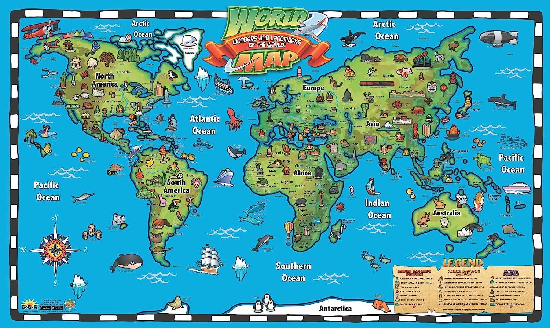 Popar kids world map interactive wall chart with free app amazon popar kids world map interactive wall chart with free app toys games gumiabroncs Gallery