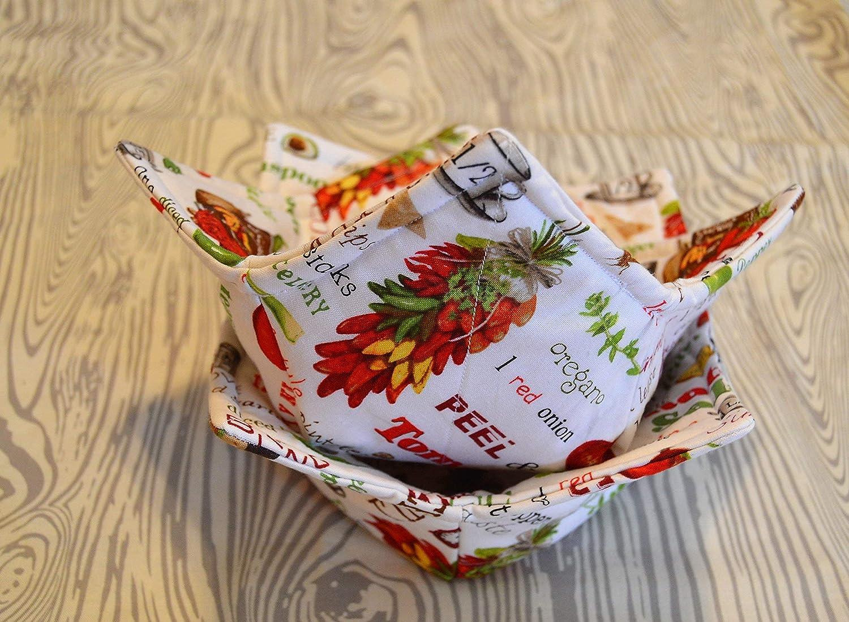 Microwavable Set of 2 Salsa Fabric Bowl Cozies