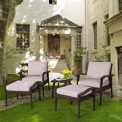 Ordinaire Diensday Outdoor Furniture | Patio Conversation Sets 5 Piece Lounge Chair U0026 Ottoman  Set |