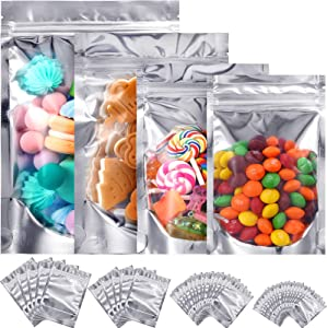 120 Pieces Resealable Mylar Bags Stand Up Foil Ziplock Bags, Aluminum Metallic Foil Pouch Bags for Food Packaging, Candy, Nuts and Dried fruit, Smell Proof Bags, Assorted Sizes
