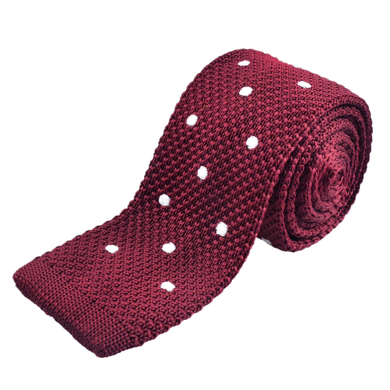 Alizeal Men's Fashion Polka Dot Wedding Skinny Knit Knitted Tie Neckties-Yellow AM099-Yellow