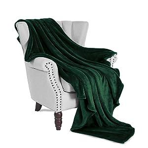 "Exclusivo Mezcla Luxury Flannel Fleece Velvet Plush Throw Blanket – 50"" x 60"" (Forest Green)"
