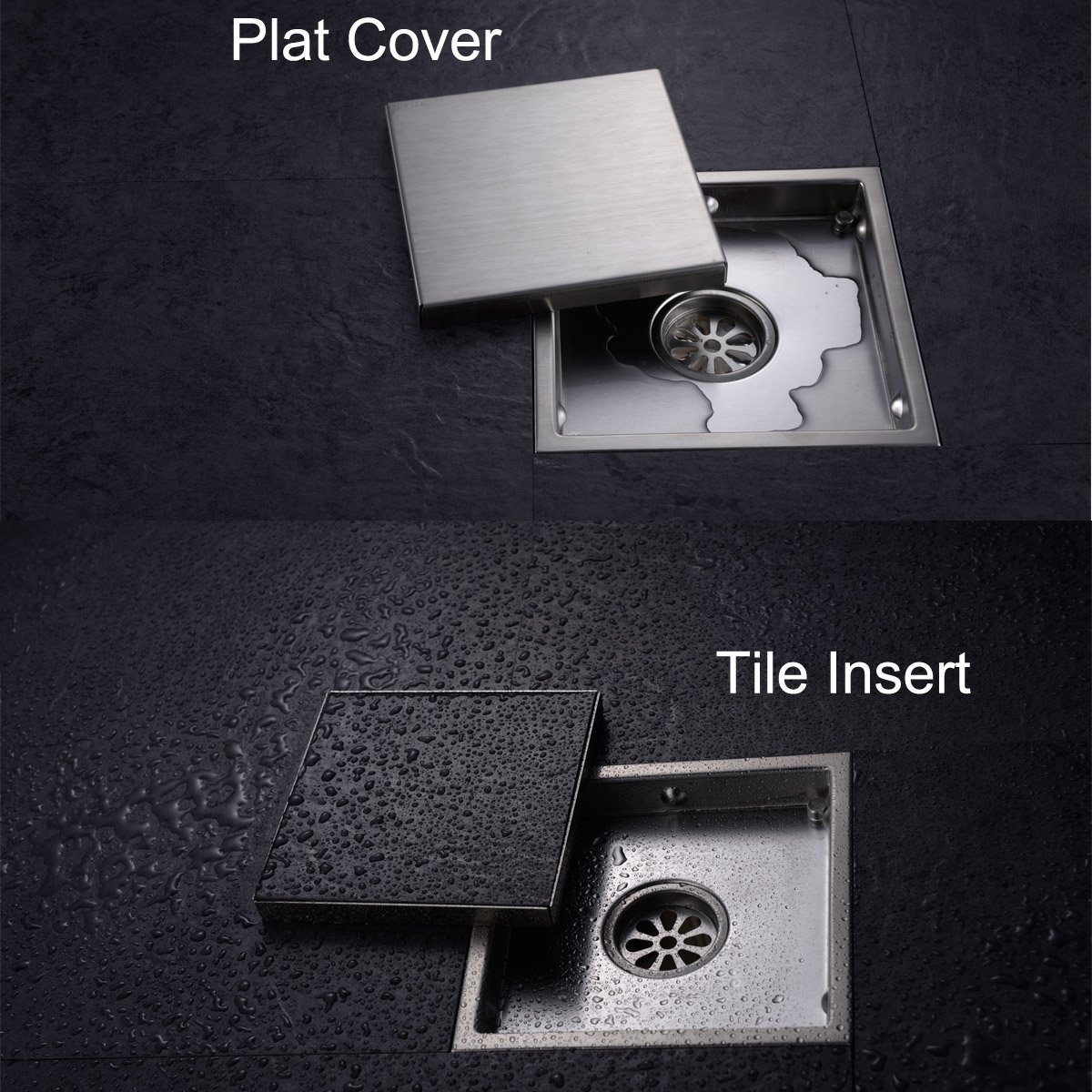 Square shower floor drain with tile insert grate made of sus304 square shower floor drain with tile insert grate made of sus304 stainless steel 6 inch multipurpose invisible look or flat cover brushed stainless dailygadgetfo Choice Image