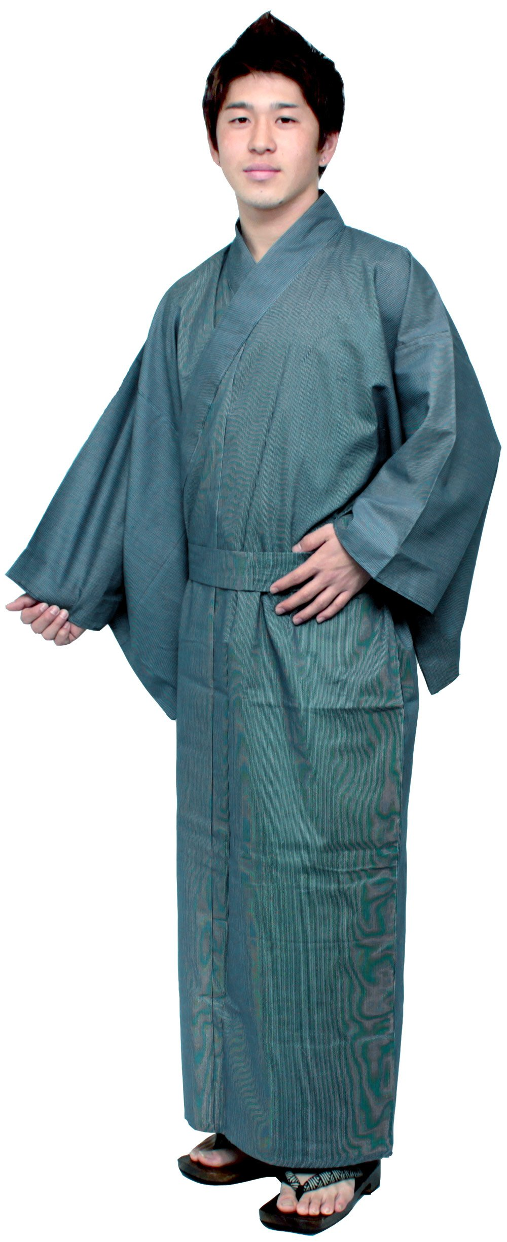 Kimono Japan Men's Easy Yukata Robe Navy Fine Stripe Medium