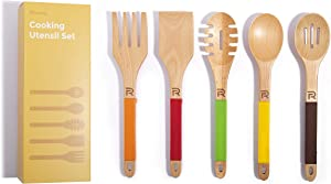 Riveira Wooden Cooking Utensils Set 5-Piece Nonstick Kitchen Utensil with Silicone Handles Gift for Everyday Use