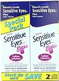 Bausch & Lomb Sensitive Eyes Plus Saline Solution, 12 Fl Oz, 2 Count (Pack of 4)