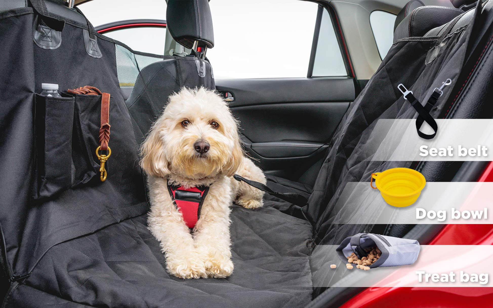 Vibes Dog Supply Luxury Pet Seat Cover - Bonus Seat Belt & Collapsible Dog Bowl & Treat Bag for Trucks, SUV, and Cars - Non Slip Backing, Waterproof