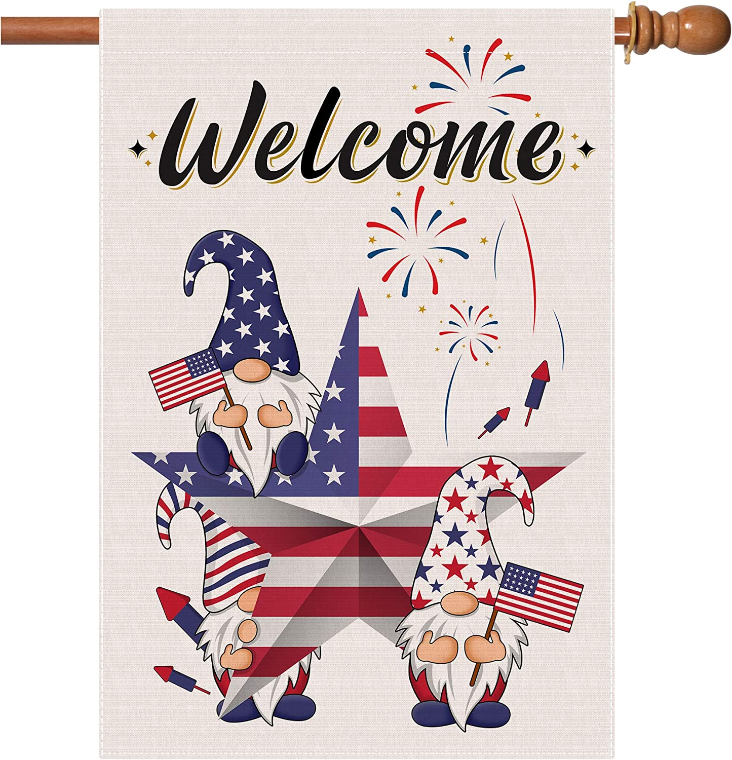 pinata 4th of July Flags 28 x 40 Double Sided, Patriotic American Star Burlap Large House Flag Porch, Memorial Independence Day Gnomes Welcome Decorative Garden Signs for Home Decorations