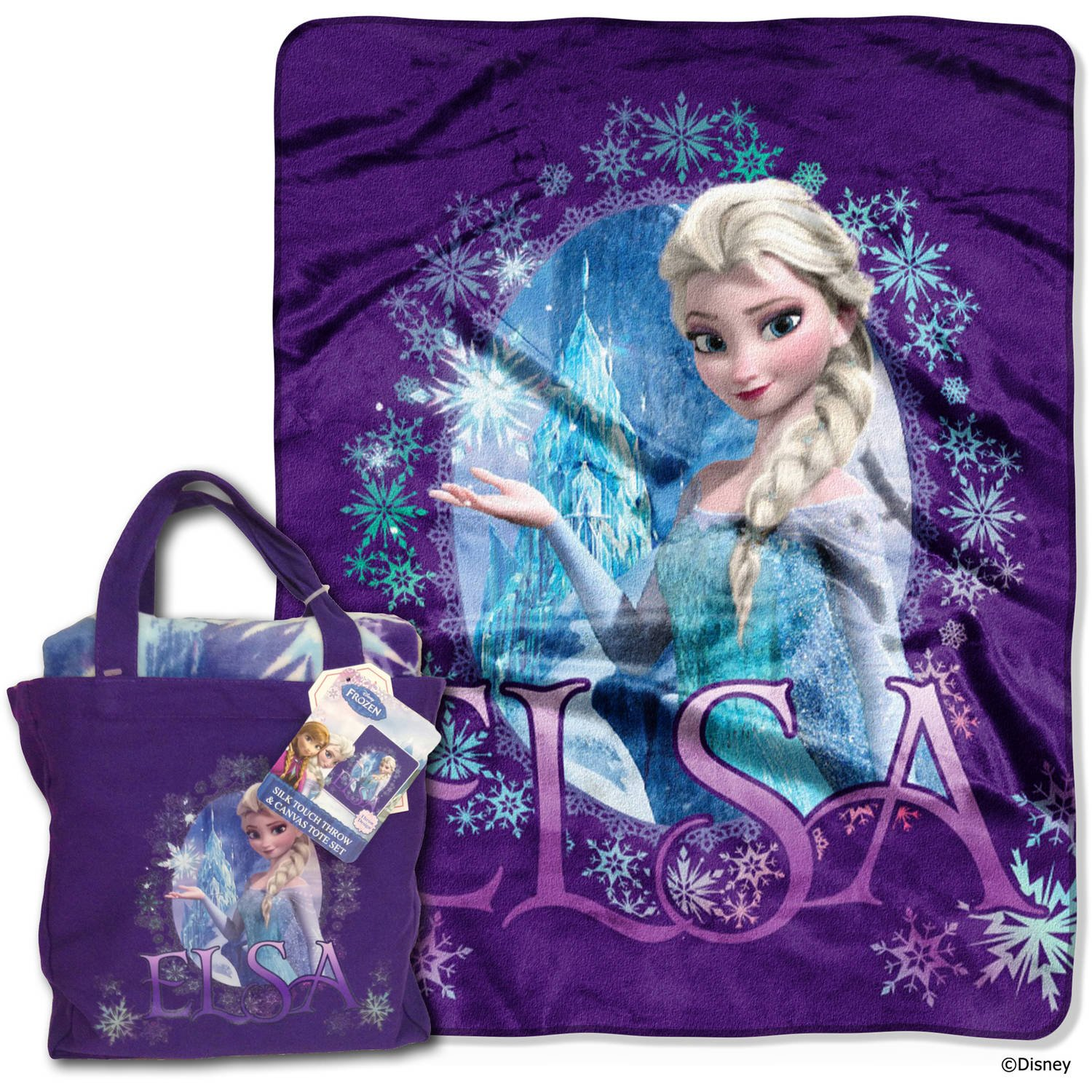 N2 40 x 50inch Kids Blue Purple Disney Frozen Queen Elsa Throw Blanket + Tote Bag, Cute Bedding Girls Movie Character Warm Soft, Polyester Cotton