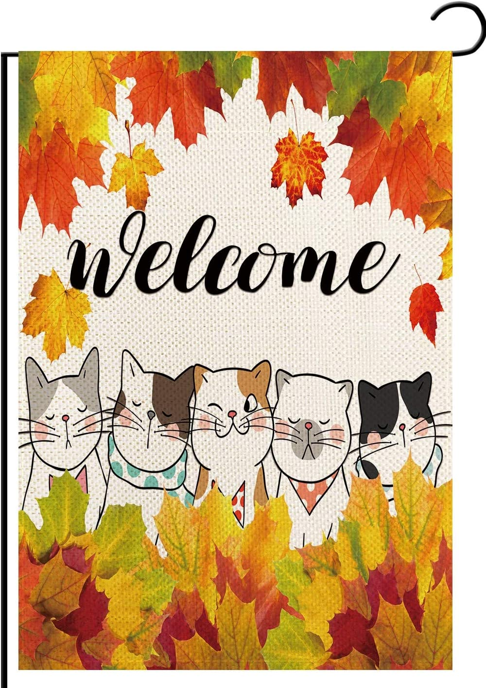 FLCHWY Welcome Cute Funy Cats Small Garden Flag,Happy Fall Maple Leaves Vertical Double Sided,Autumn Winter Rustic Farmland Burlap Yard Lawn Outdoor Decor 12.5x18 Inch