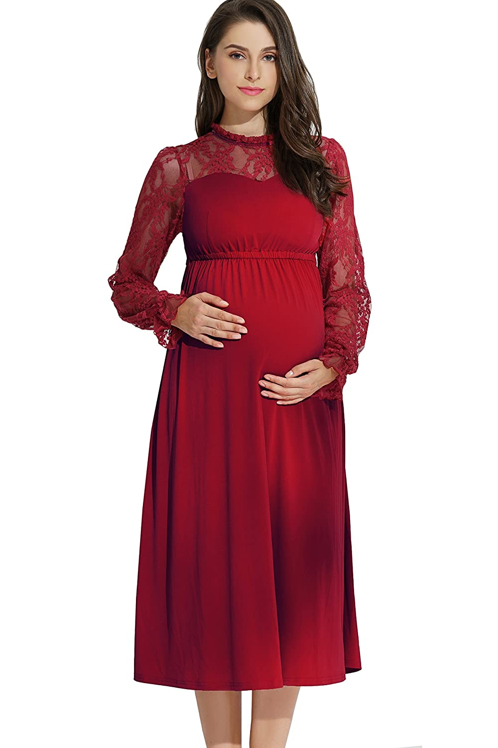 Maternity and Nursing Classic Lace Sleeve Dress Sweet Mommy Co. Ltd bo7054