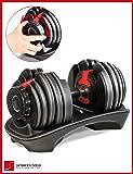 Mancuerna ajustable Sportstech 15en1-Mancuerna con un innovador sistema de clic para 2,5-24 kg,la AH200 con anillo de agarre de seguridad y mango antideslizante combina 15 mancuernas. Uno o dos conjunto