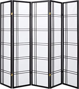Oriental Furniture 6 ft. Tall Double Cross Shoji Screen - Black - 5 Panels