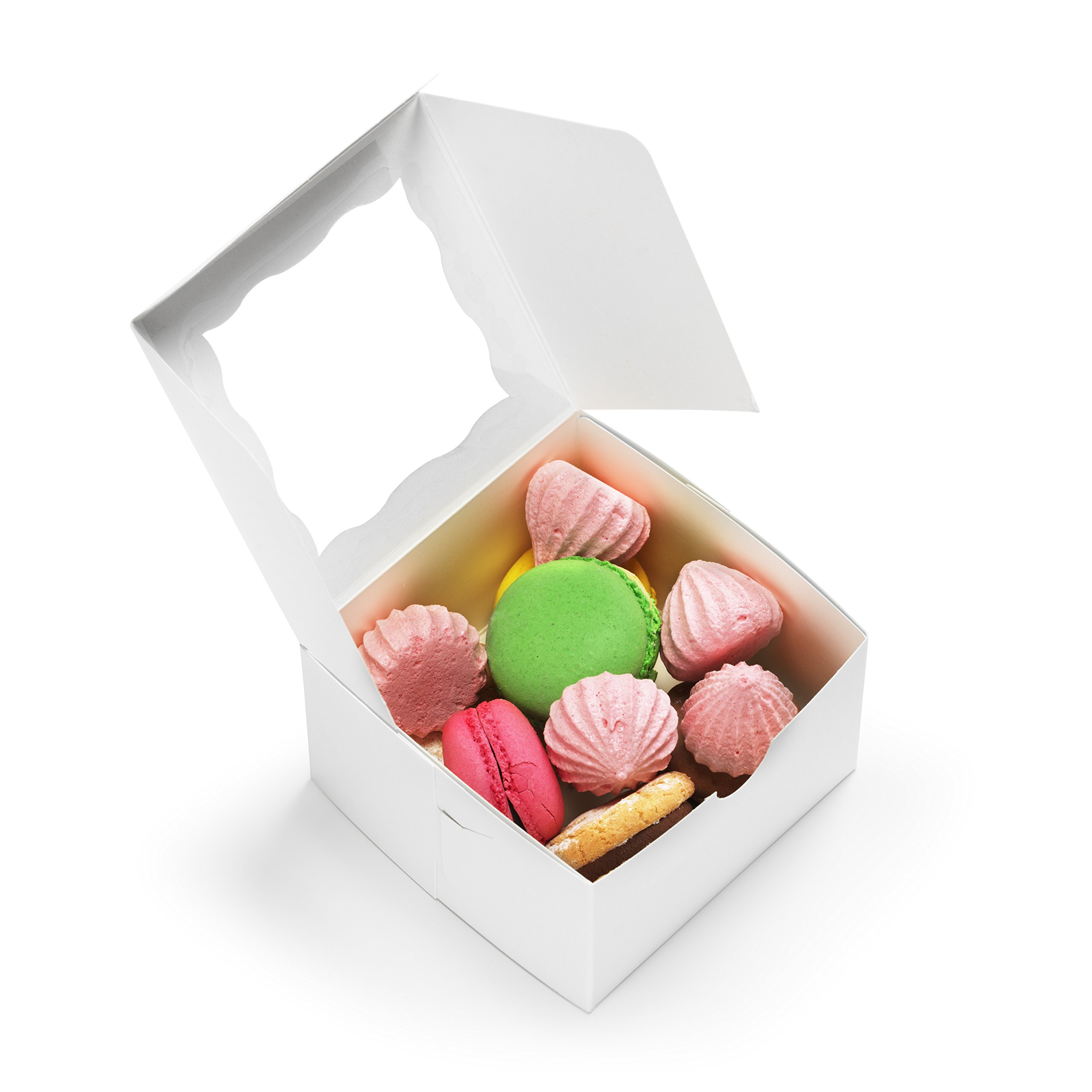 [50Pack] Bakery Boxes with Window 4x4x2.5'' Cute Pastry Containers for Cupcakes, Wedding Cake/Treat/Party Favors, Donuts, Desserts, Cookies (White)