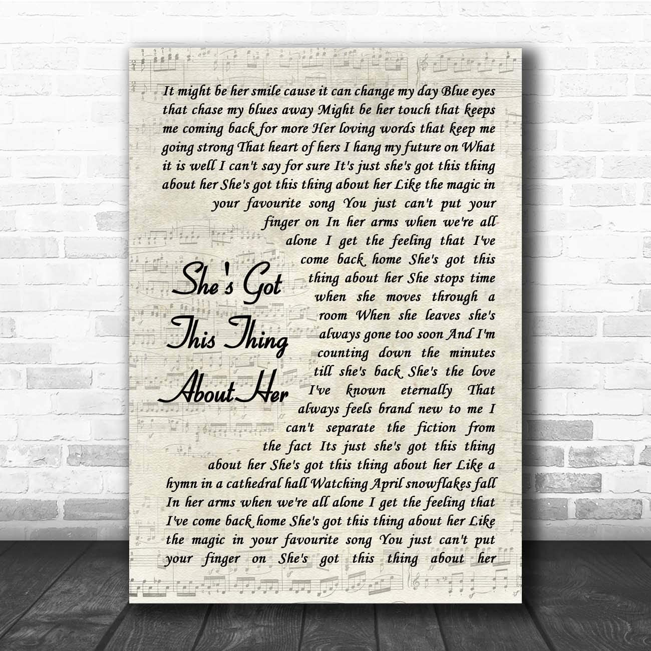 She's Got This Thing About Her Vintage Script Song Lyric Print