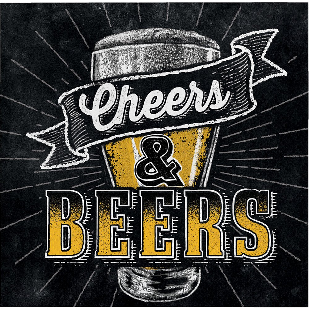 192-Count Beverage Paper Napkin, Cheers and Beers by Creative Converting