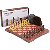 KIDAMI Folding Magnetic Travel Chess Set with 2 Portable Bags for Pieces Storage, Lightweight for Easy Carrying (12.4 x…
