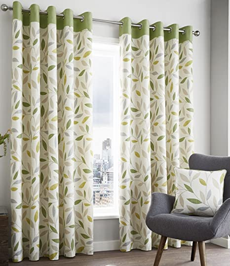 Brandy Fully Lined Curtains 66quot X 90quot Leaf Print Lime Green Sage Cream Modern