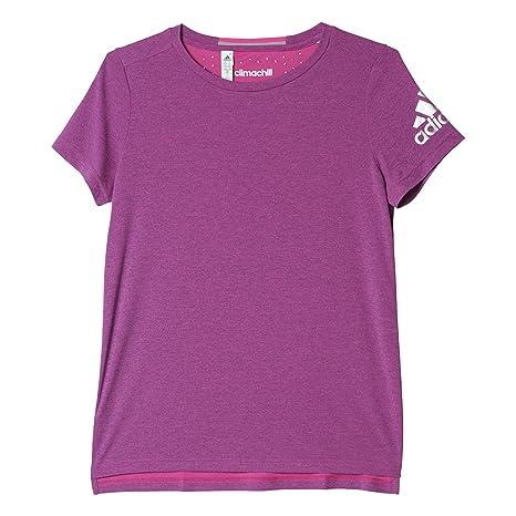 Adidas T-Shirt Climachill tee Camiseta, Mujer, Morado/Plateado (Chshpk)