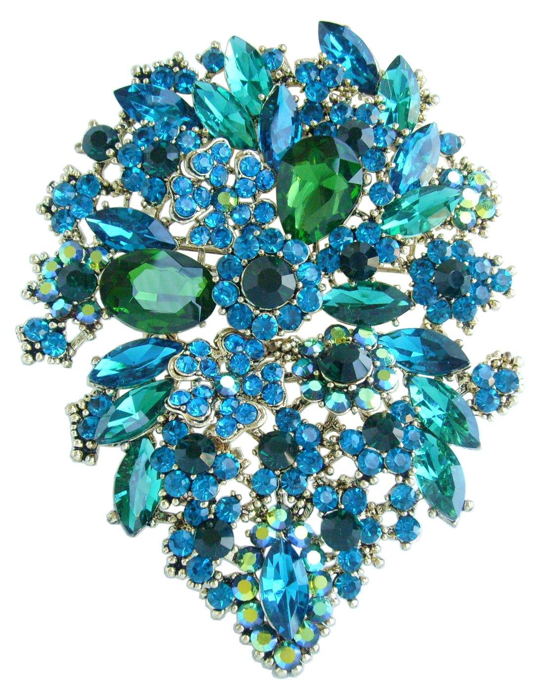 Sindary 4.13'' Rhinestone Crystal Flower Brooch Pin Pendant Wedding Bouquet BZ3905 (Gold-Tone Green)