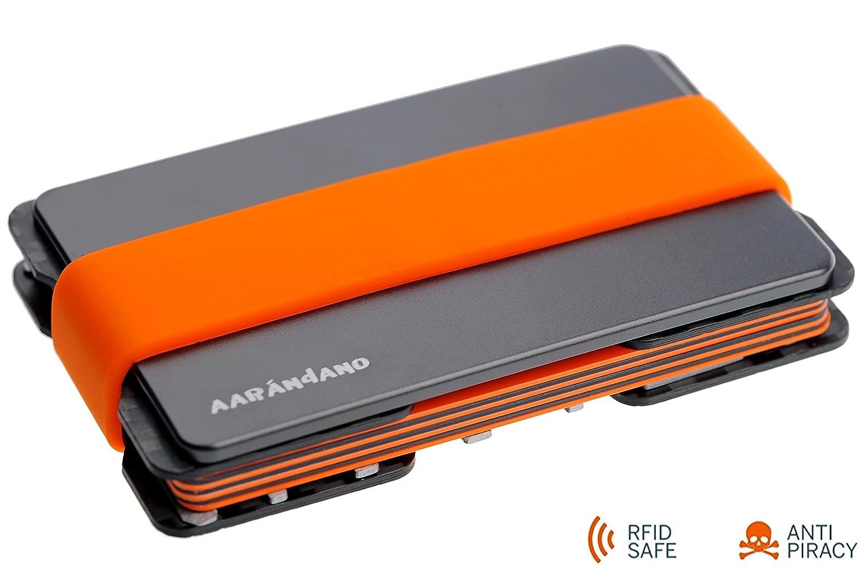 AAR/ÁNDANO /™ Porte Carte de Cr/édit en Carbone Avec Carte de monnaie Mini Portefeuille et Porte Monnaie Fin Etui pour Carte Bancaire Carte Bleue S/écuris/é et Prot/ég/é Anti RFID NFC