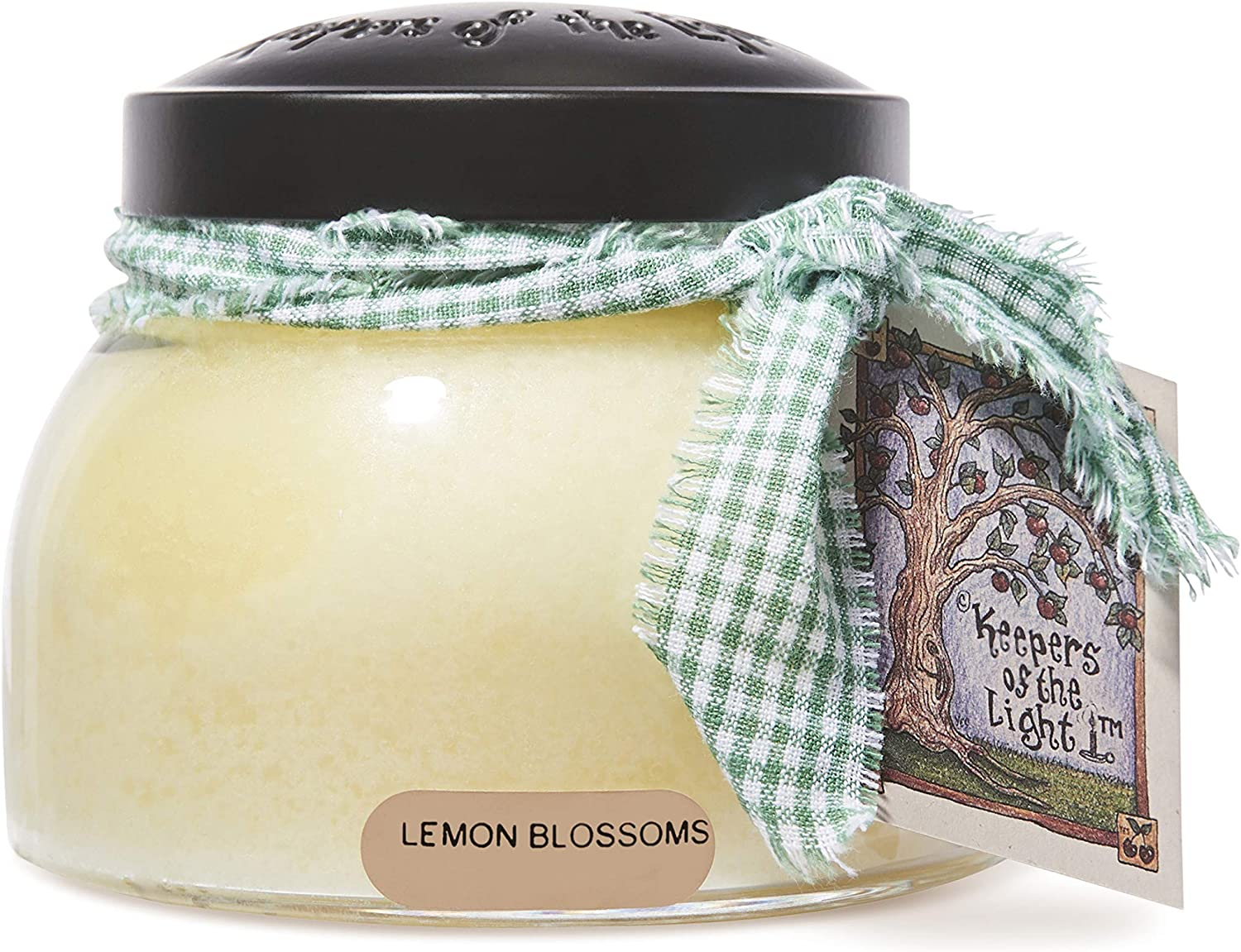 Scented Glass Jar Candle - 22 oz. Lemon Blossoms Mama Jar Candle with Lid & True to Life Fragrance Made in USA - Keepers of the Light Collection by A Cheerful Giver