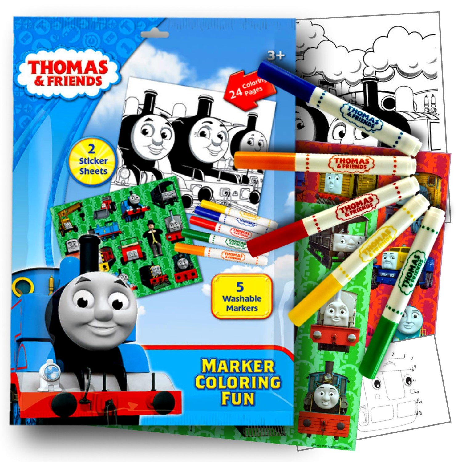Washable Markers Sticker Sheets and Coloring Pages Thomas the Tank Engine Thomas the Train Stickers Coloring Activity Set With