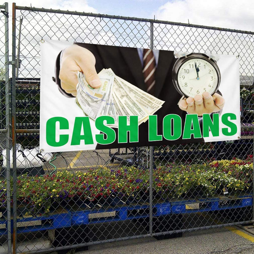 Vinyl Banner Multiple Sizes Cash Loans G Outdoor Advertising Printing Business Outdoor Weatherproof Industrial Yard Signs 8 Grommets 48x96Inches