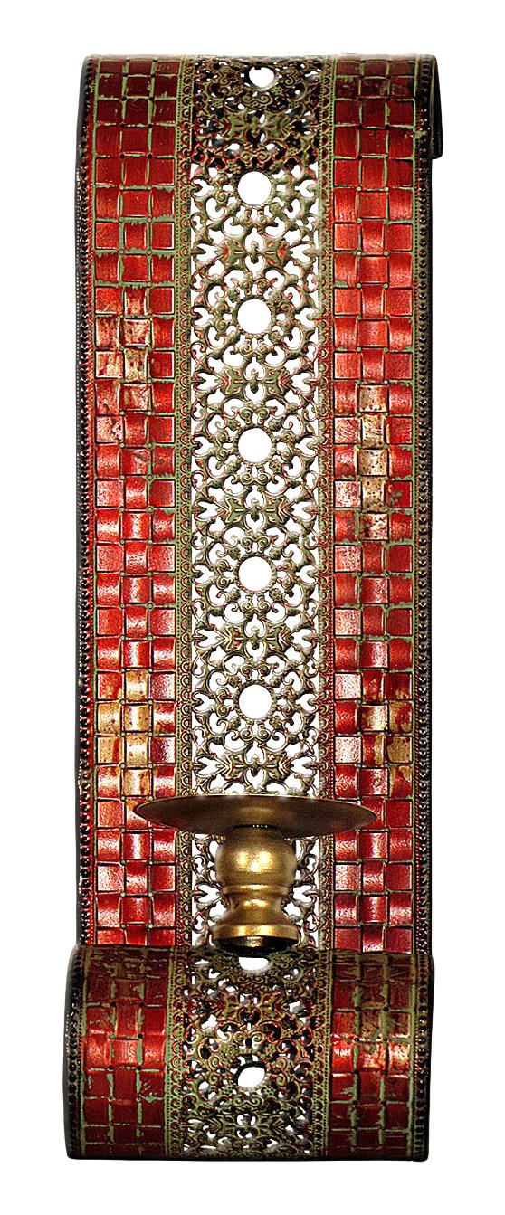 Carrick Design Mosaic Wall Sconce Pair, Multi-Colour, 15 x 12 x 48 cm 3052623