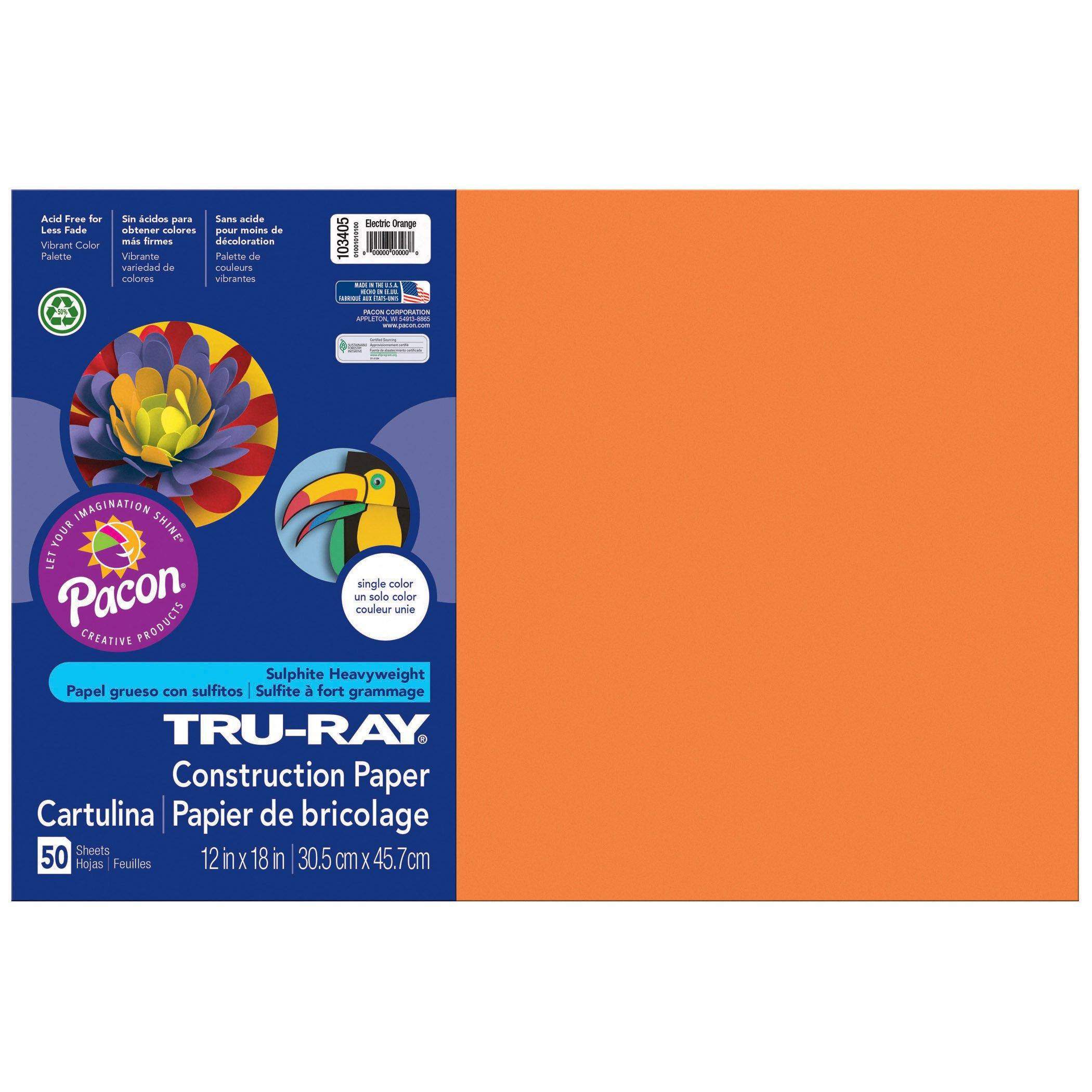 Tru-Ray PAC103405BN Construction Paper, Electric Orange, 12'' x 18'', 50 Sheets per Pack, 3 Packs