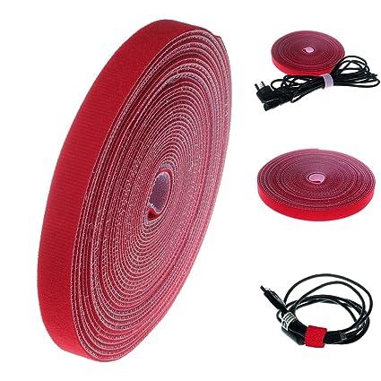 HIMRY® 15M x 20mm Cinta para cables de Velcro, Reutilizable Recortable tiras sujetacables,