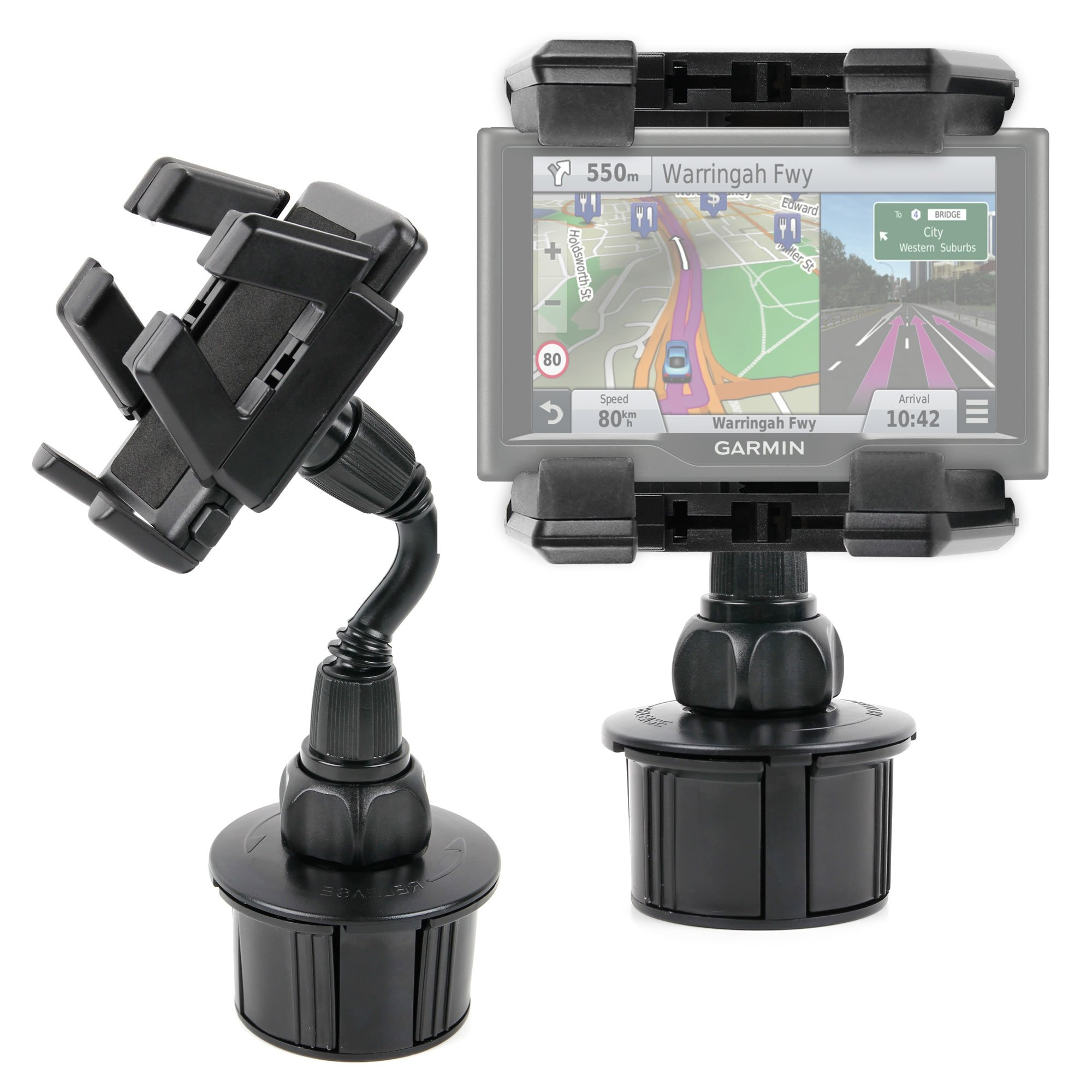 DURAGADGET Anti-Shake, Anti-Vibrate in-Car GPS Cup Holder Mount with Adjustable Arms - Compatible with The New Garmin nuvi 55LM, 57LM, 57LMT, 58LMT, 67LMT, 68LMT & Garmin Camper 660LMT-D