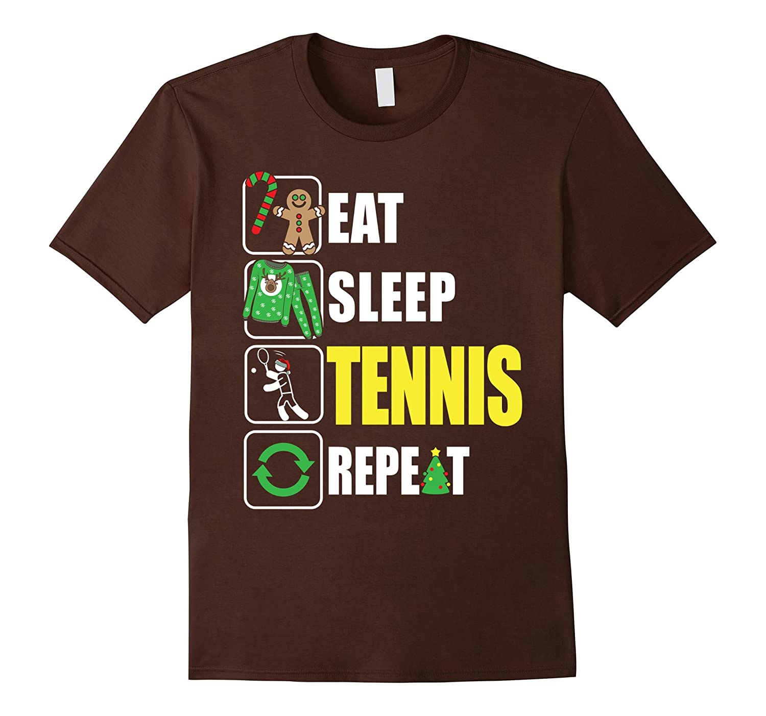 Eat Sleep Tennis Repeat Tshirt Funny Merry Xmas Tennis Gift-ANZ ...