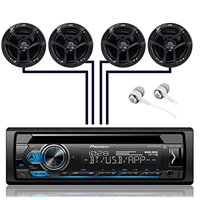 "Pioneer DEH-S4100BT Single DIN Bluetooth in-Dash CD USB MP3 AUX AM/FM MIXTRAX Pandora Spotify Android Car Stereo Receiver with 2 Pairs JVC 6.5"" 300W 2-Way Coaxial Car Speakers"