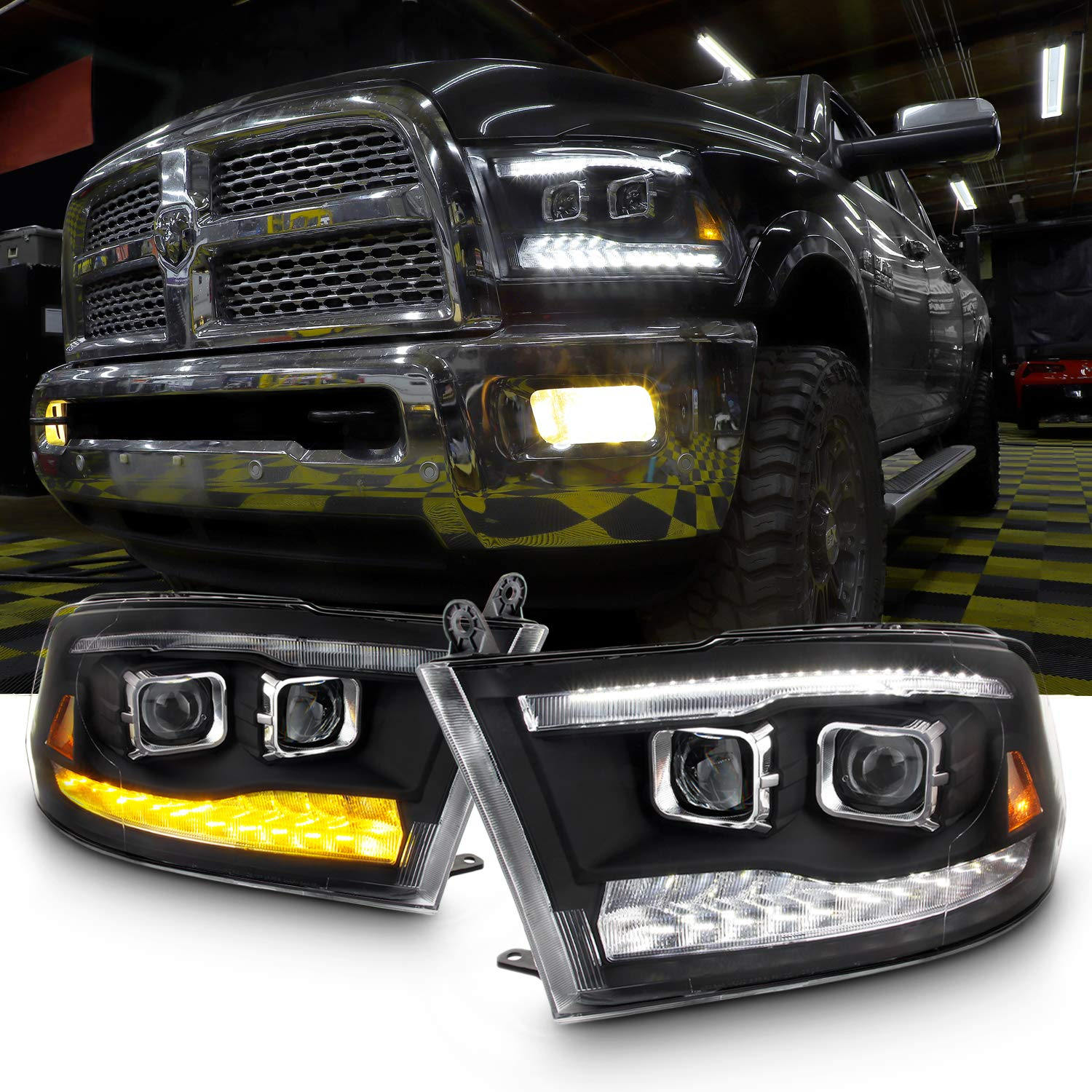 Upgrade Projector & Bar LED Black Housing Headlights with Light Bulbs Set