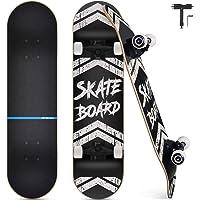 Skateboard Completo, Funxim Tabla de Skateboard 31 x 8 Pulgadas 4 Ruedas 7 Capas Madera de Arce Doble Patada Rueda…