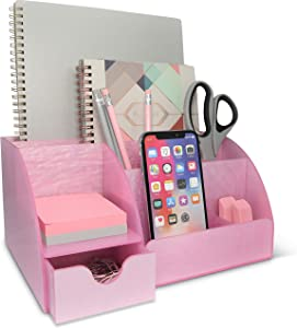 Pink Desk Organizer Office, Acrylic, with Drawer, 9 Compartments, All in One Office Supplies and Cool Desk Accessories Organizer, Pen Holder, Office Decor Desktop (Pink)
