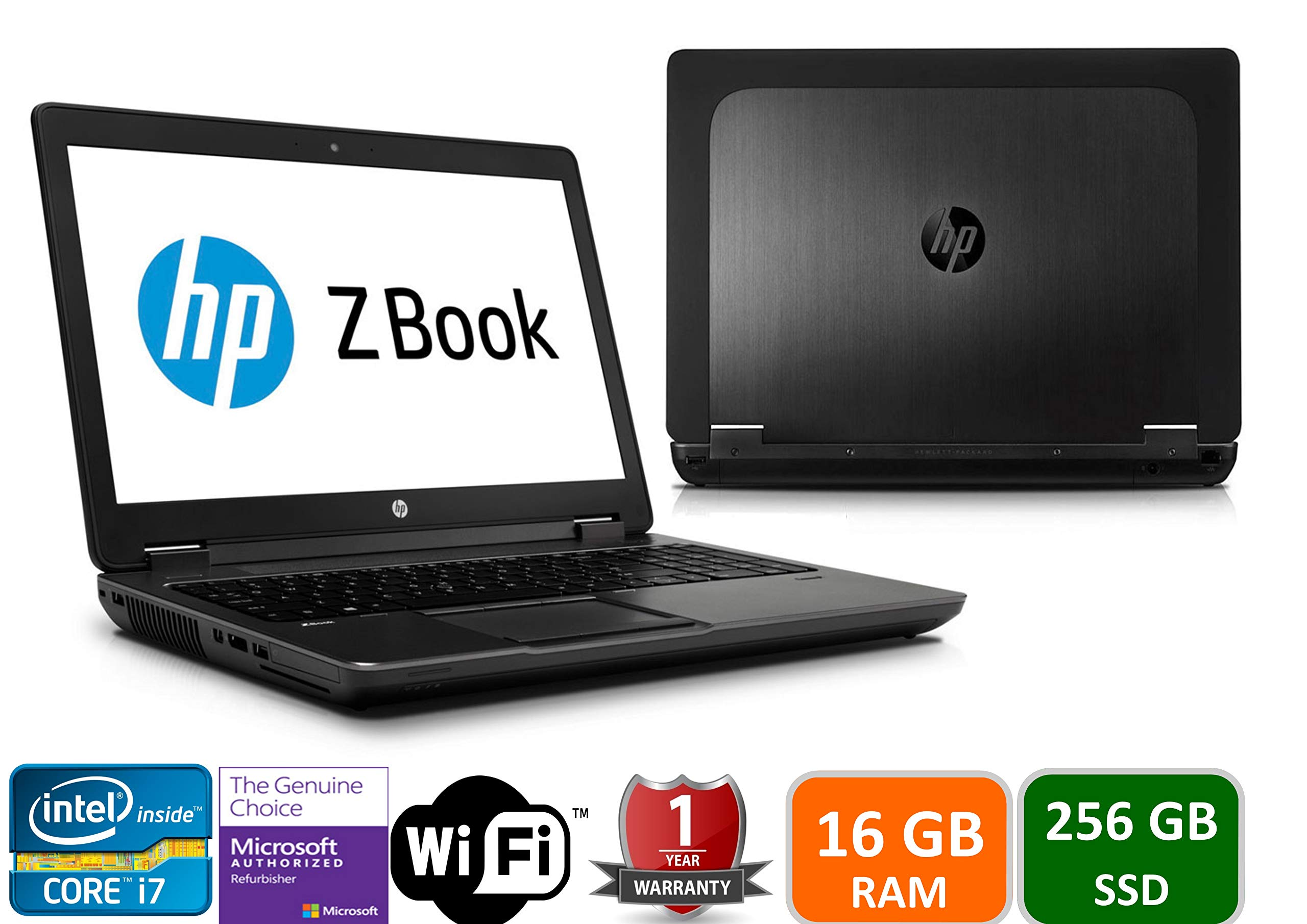 HP Zbook 15 Intel i7-4800HQ, 16GB Memory, 256GBSSD, 15.6in Screen, 1920x1080, Win 10 Pro(Renewed)