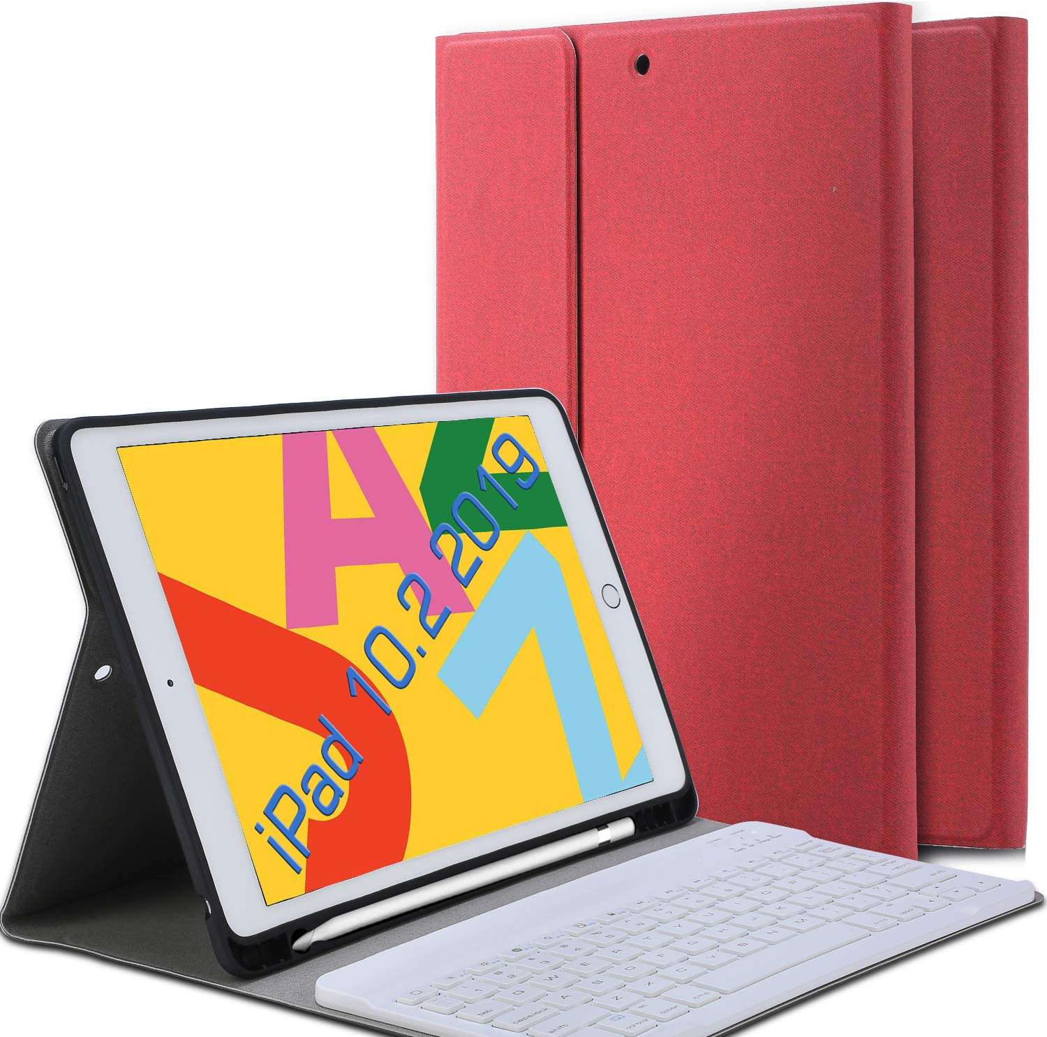 Funda Con Teclado Para iPad 10.2 (2019) 7 Gen. Roja