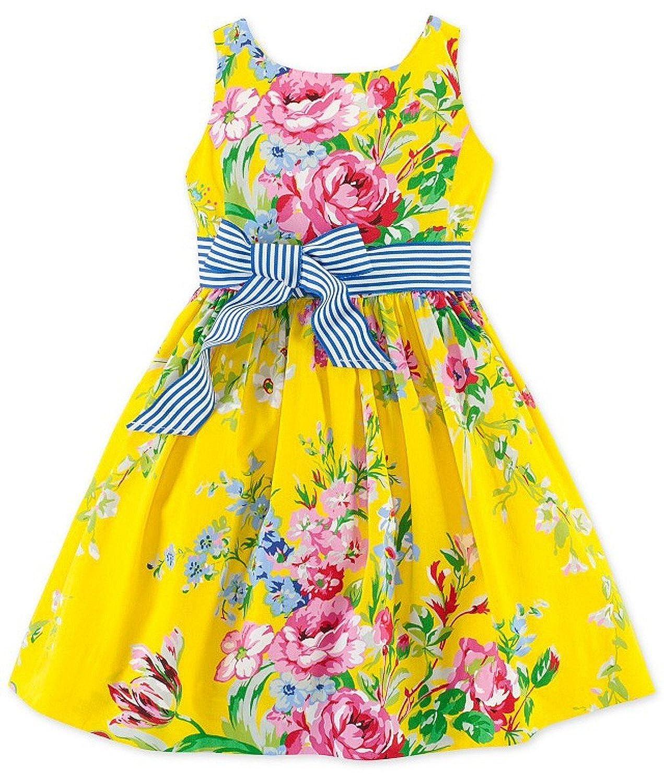 b1c89fbeafe92 Amazon.com: Ralph Lauren Girls Floral Cotton Sateen Dress (Yellow 4T):  Clothing