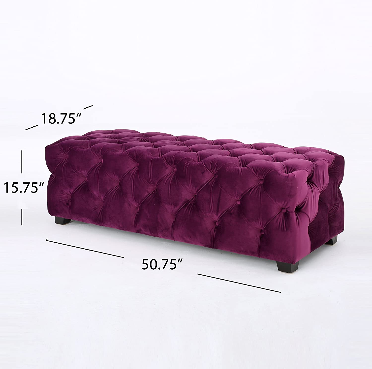 Great Deal Furniture 298422 Provence Purple Tufted Velvet Fabric Rectangle Ottoman Bench
