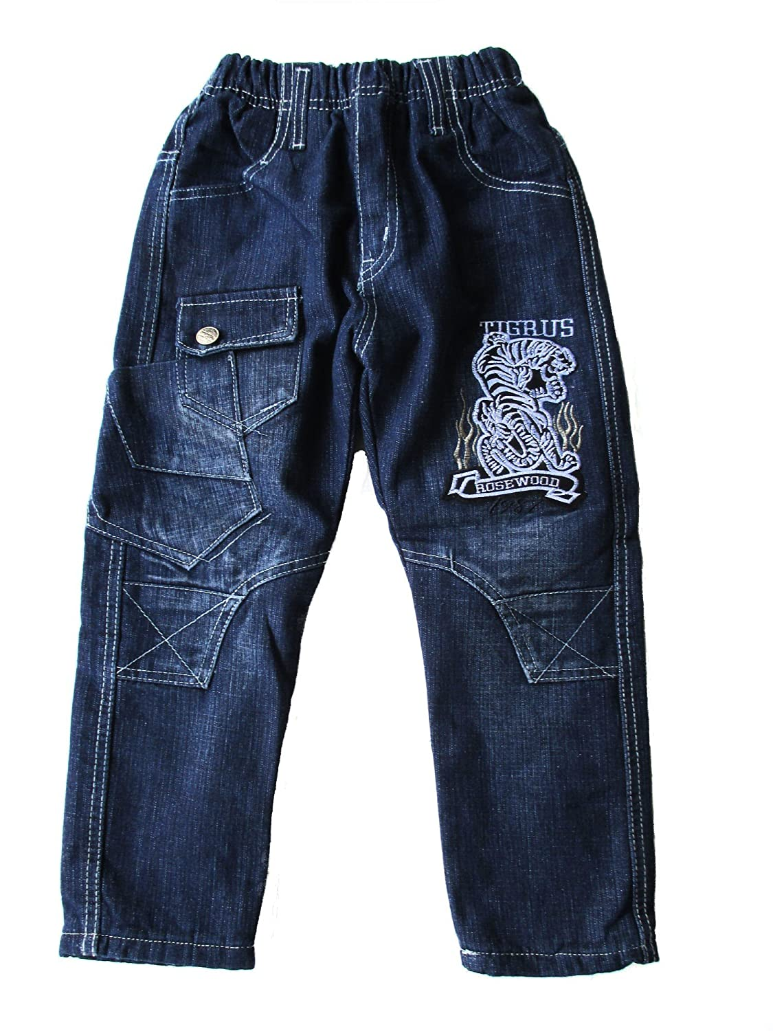 Kinder Jungen Thermo Jeans, Thermojeans, Thermohose, gefüttert, mit Motiv 'Tiger', blau, RB604