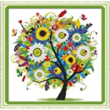 """eGoodn Stamped Cross Stitch Embroidery Kits Printed Pattern - Happy Tree 11CT Fabric 18.1"""" x 18.1"""", Cross-Stitching DIY Needlework, Without Frame"""
