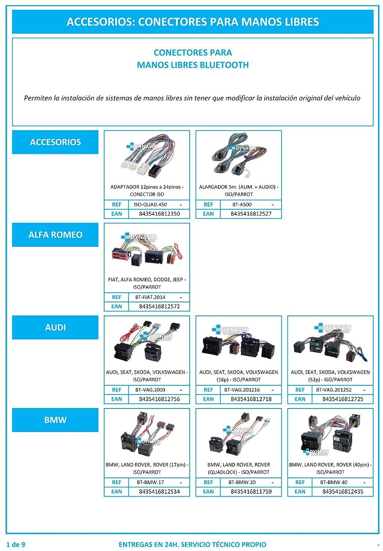 BT-KIA.2010 - Conector para instalar bluetooth manos libres tipo Parrot, Motorola... en KIA y HYUNDAI. Dynavin