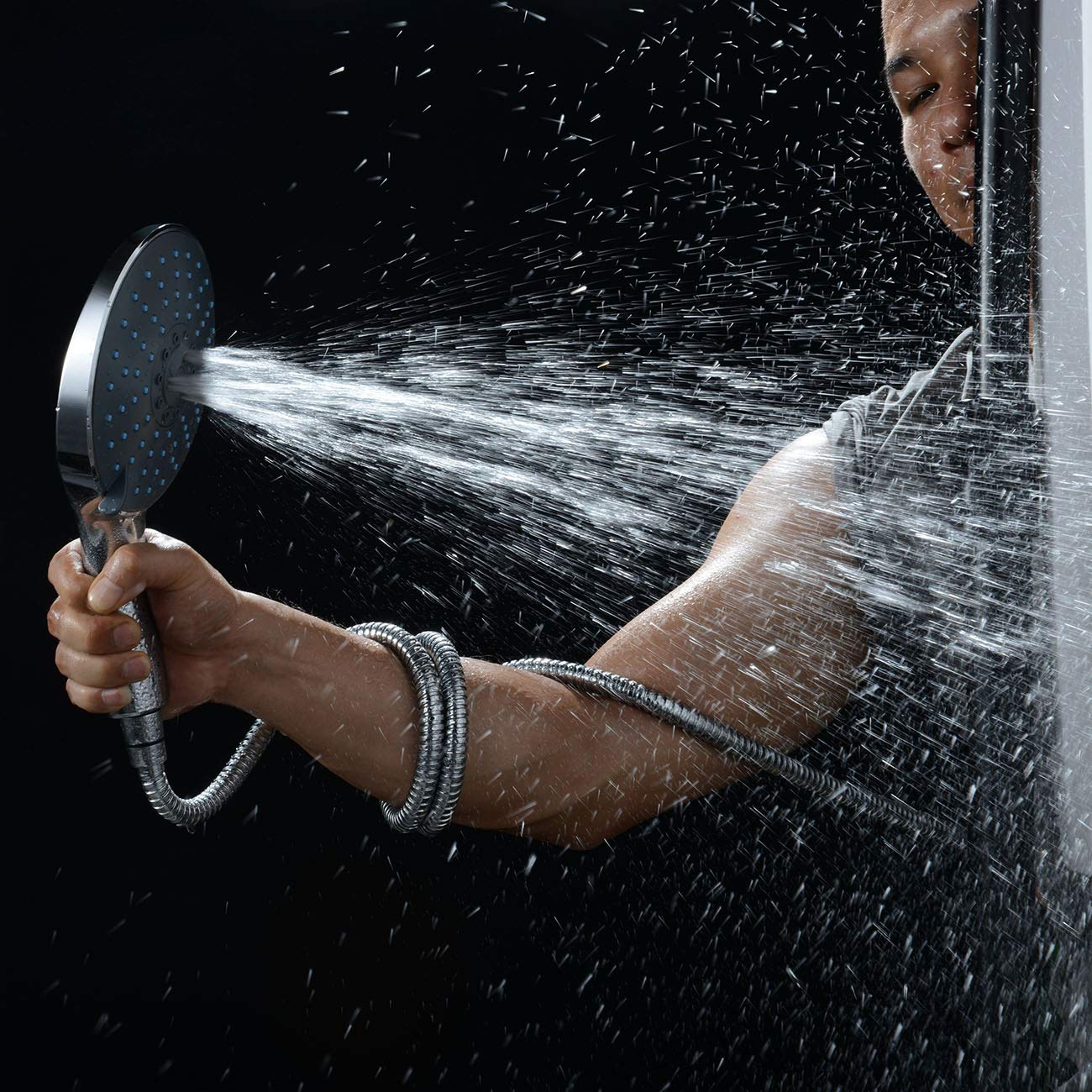 Luxury Chrome FinishHigh Pressure Handheld Shower Head,Easy to Installation HomeyStyle 7 Spray Hand Held Shower Head with Bathroom Accessories//Angle-Adjustable Bracket//5 Ft Stainless Steel Hose