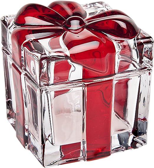 Godinger Crystal Bow Present Box Red Stripes
