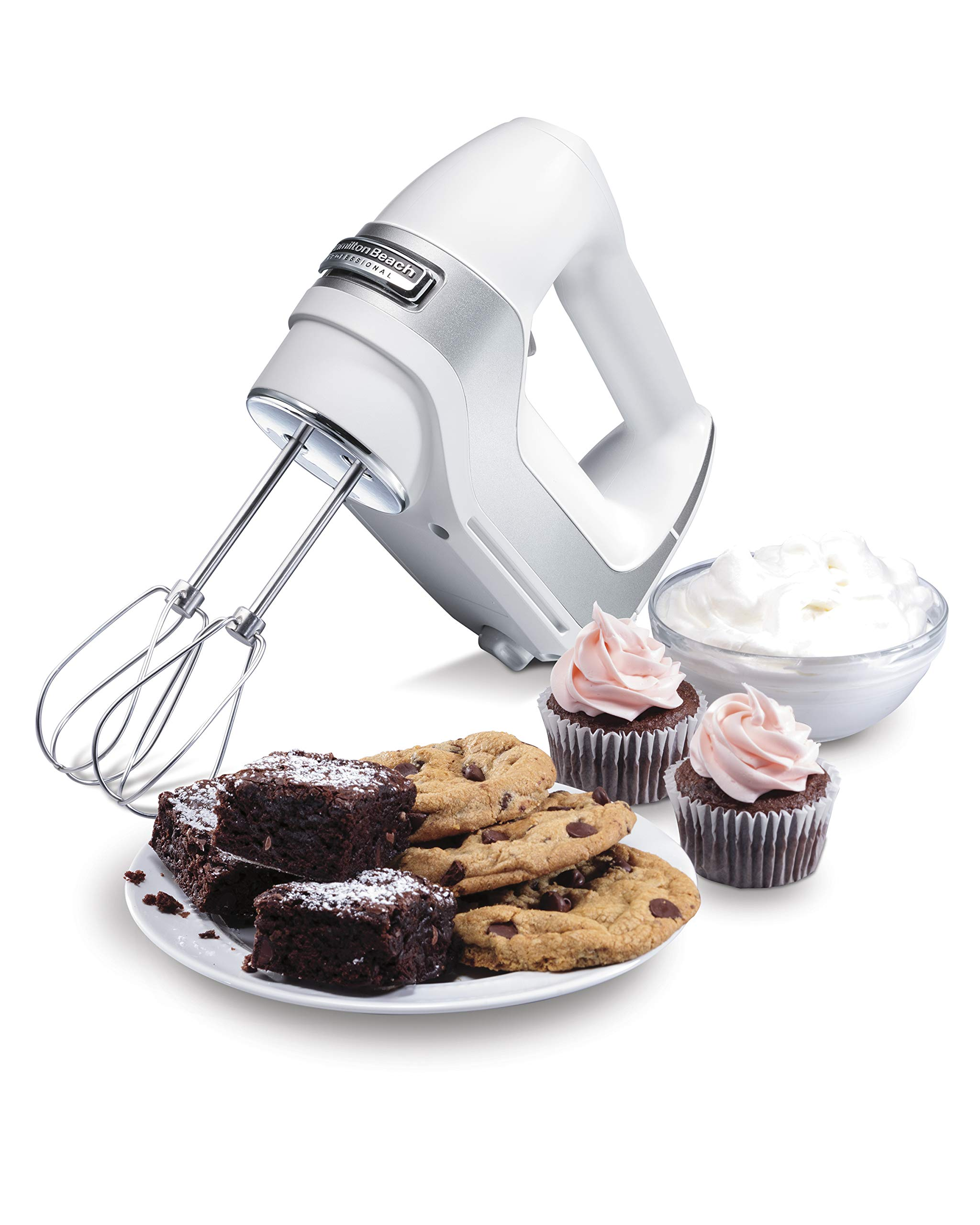Hamilton Beach 5-Speed Electric Hand Mixer with Snap-On Storage Case, QuickBurst, Stainless Steel Twisted Wire Beaters and Whisk, White (62652) by Hamilton Beach