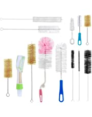 13Pc Food Grade Multipurpose Cleaning Brush Set, Includes Straw Brush|Nipple Cleaner|Bottle Brush|Blind Duster|Pipe Cleaner, Small,Long,Soft,Stiff Kit for Baby Bottles