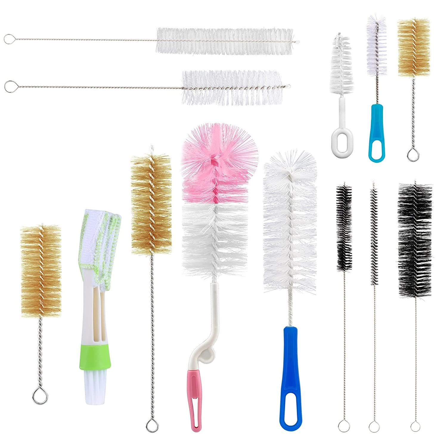 Yoassi 13Pc Food Grade Multipurpose Cleaning Brush Set, Includes Straw Brush|Nipple Cleaner|Bottle Brush|Blind Duster|Pipe Cleaner, Small,Long,Soft,Stiff Kit for Baby Bottles,Tubes,Jars,Bird Feeder DIY Crafts ® India 1136